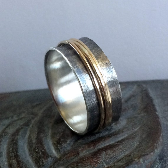 mens wedding band spinner ring silver spinner by thebeadgirl