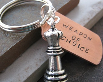 CHESS Keychain, Weapon of Choice, optional initial disc, gifts under 20, chess team gifts, game of chess, chess player gift, chess master
