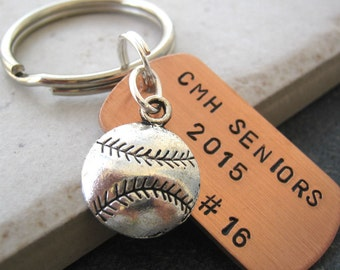 Personalized BASEBALL Keychains, Baseball player, school name, softball, athletic banquet gifts, graduating athetes, seniors, baseball coach