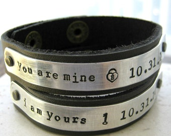 I am Yours, You are Mine, Leather Cuff Bracelet set, 1/2 inch wide, customize up to 25 characters, couples jewelry, his and hers, lgbt