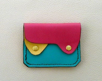Small Leather Wallet, Coin Purse, Card Case, Colorful Leather Wallet
