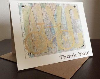 New York City NYC Map and Bike Screen-Printed Thank You Card