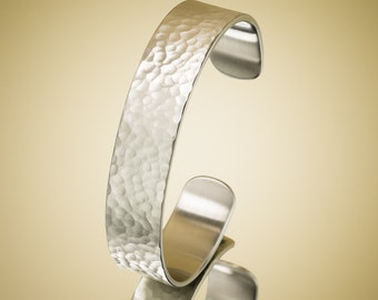 Hammered Brushed Stainless Steel Cuff Bracelet