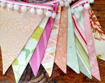 Designer's Choice with Pompoms, Mint, Pink, Peach Fabric Bunting Flag Banner, Garland Bunting. Designer Fabrics, Wedding Decor, Kids Room.