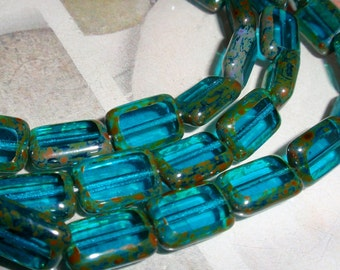 Teal Green Picasso Czech 12/8mm Rectangle Table Cut Window Beads-4