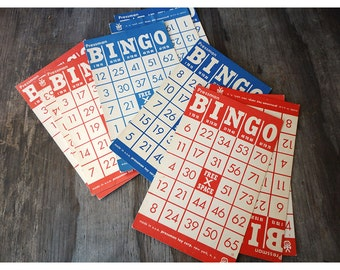 Vintge Bingo Game Cards - Red and Blue