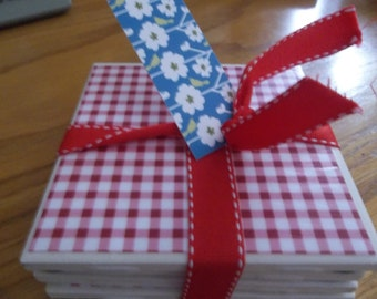 White tile Red/Blue Gingham Coasters