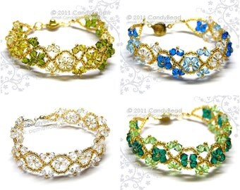 Swarovski Bracelet; Crystal Bracelet; Glass Bracelet; Silver and Gold crystal bracelet by CandyBead - You Choose Color