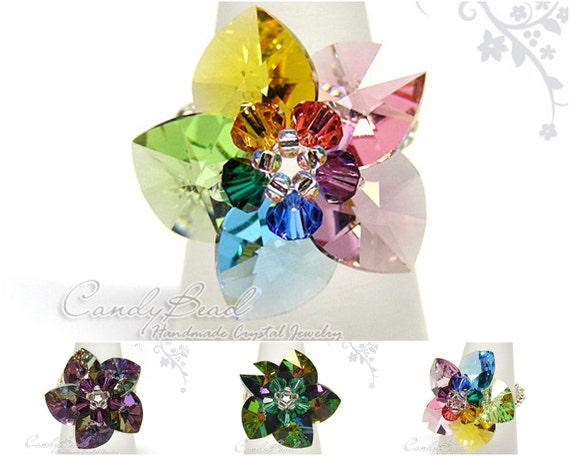 Swarovski Ring;crystal ring;Rainbow Heart Swarovski Crystal Ring by CandyBead - Best seller (R005-01)