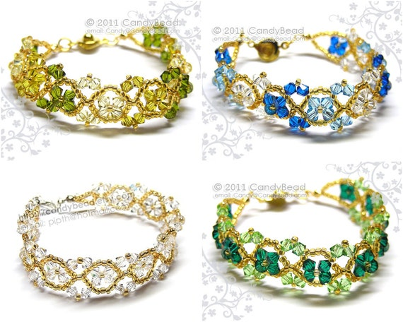 Swarovski bracelet, Silver and Gold crystal bracelet by CandyBead - You Choose Color