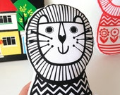 Original Scandinavian style Toy Lion by Jane Foster Retro Softie screen printed fabric