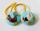 Ponytail holders - Mini Chickens - fabric covered button hair ties