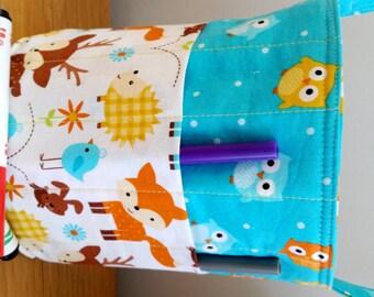 Creative Kids Art Bucket - Forest Friends - Fabric Basket Organizer Easter Basket - Fox Deer Hedgehog Owl READY TO SHIP