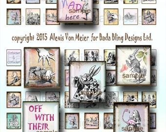 Alice in Wonderland, scrabble tiles, digital collage sheets,  scrabble tile pendants,charms, INSTANT Download at Checkout, vintage Alice