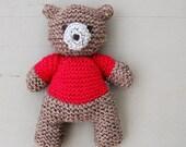 Pink Brown Teddy Bear, Knit Teddy Bear, Baby Gift, Newborn Gift, Baby Shower Gift, Handmade Teddy Bear, Knitted Teddy Bear, Original Gift