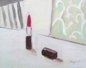 ORIGINAL Red Lipstick Still Life Painting by KAZUMI 8 x 10 inch Canvas