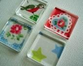 Set of 4 Supercute Cath Kidston Print Glass Fridge / Glass Tile / Kitchen Magnets Super strong / ready to ship