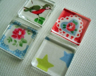 Set of 4 Supercute Cath Kidston Print Glass Fridge / Glass Tile / Kitchen Magnets Super strong / ready to ship
