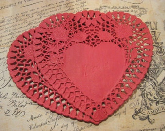"""Red Lace Love Doily 6"""" Paper Doilies Set of 40"""