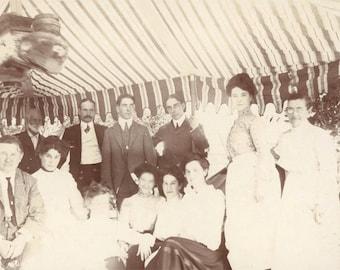 vintage photo 1903 Edwardian Event STripe Awning Eugene Oregon Fair Albumen