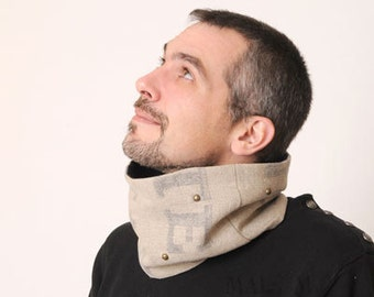 Linen Mens cowl, Upcycled Burlap Tube scarf, Mens Cowl in recycled Beige French mail bag, Gift for men, MALAM