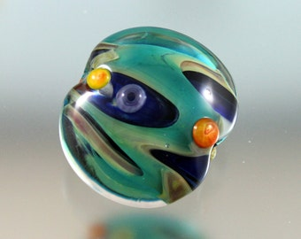 focal glass bead, lampwork focal, green glass, colorful glass bead, blue glass