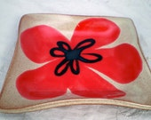 Red Flower Pottery Dish, Square Serving Plate, Spoon Rest, Candle Holder, Soap Dish, Jewelry Holder