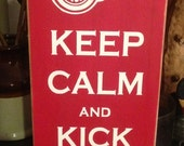 Keep Calm and Kick Ass Detroit Red Wings Handpainted Wood Sign Plaque Hockey Decor Tiger