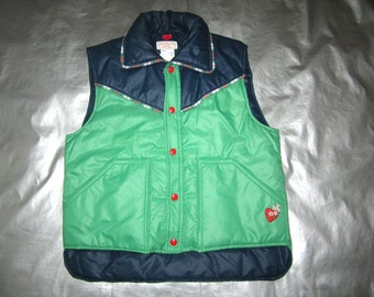 Frostline Ski Vest - Women's SMALL Puffy Quilted Vest - Navy Green Plaid with Heart Applique - Vintage 1970s