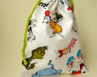 Dr. Seuss Characters Drawstring Bag, children crayons bag, kids storage bag, birthday goody bags, reusable fabric bag, gift bags