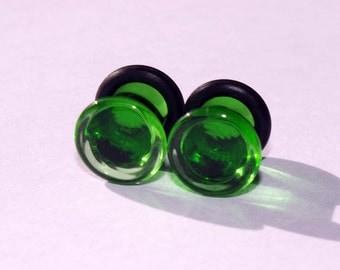 2g Green Glass Plugs Body Jewelry 6mm Handmade 2 gauge