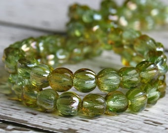 Chrysolite Celsian Czech Bead Glass 5mm Melon Rounds : 50 pc Green 5mm Melon