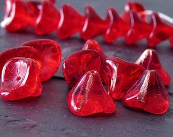 Three Petal Czech Glass Bead Ruby Red Adventurine Flower : 10 pc Red Czech Flower