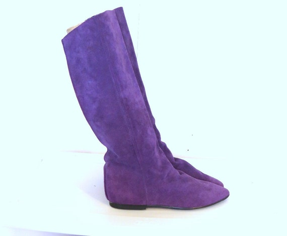 sz 8m purple suede leather flat boots made in italy
