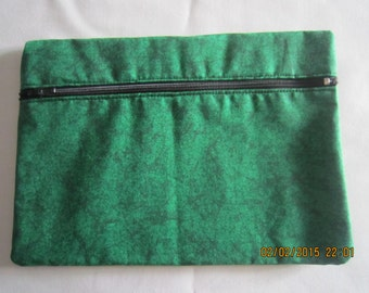 """8"""" Cosmetic Bag / Make Up Bag / Pencil Pouch - Black Wrinkled Lines on Green*"""