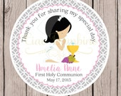 Girls First Holy Communion Favor Tags or Stickers in Gray and Pink / Choose Your Hair Color / Set of 12