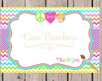 PRINTABLE Peace, Love, Paint Thank You Card / Printable Painting Party Thank You / 4x6 / You Print / INSTANT DOWNLOAD
