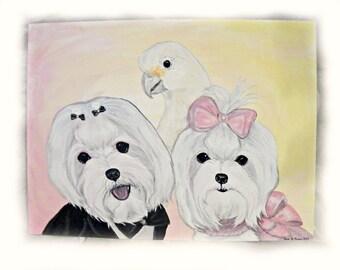 Canvas Hand Painted Custom Dog Portrait Acrylic Art-11 x 14