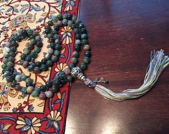 Fancy Jasper Mala with embellished tassel-10mm 108 bead