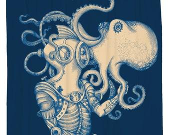 Octopus Shower Curtain, Kraken, Nautical Bathroom Decor, Beach theme, Navy Shower Curtain, Octopus Bathroom, Waterproof, Hooks Included
