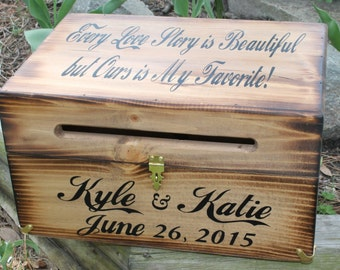 Large Rustic Wedding Card Box Keepsake Chest Every Love Story Is Beautiful Antiqued Personalized Custom Wood