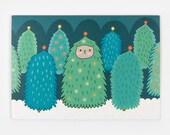 Christmas Tree Cat - Greeting Card