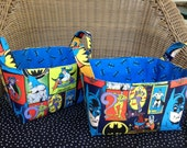 Fabric Basket Storage Bin Made from Batman Fabric - Robin Joker Riddler