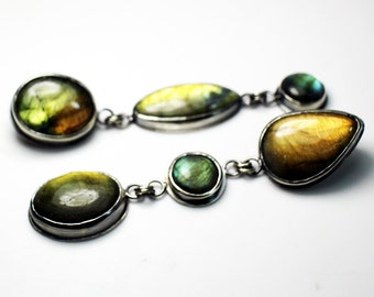 Sale 50% off yellow and green asymmetrical labradorite earrings post backs sterling silver