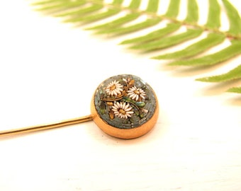 Antique Micro Mosaic Daisy Stickpin, Beautiful Detail, with Lovely Old Case, Victorian era