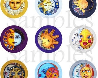 "1"" Sun and Moon Flatback, Pins or Magnets 12 Ct."