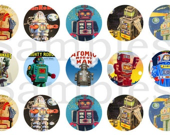 """1"""" Inch Retro Robot Pinback Buttons, Flatbacks or Magnets 12 Ct."""