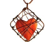 Heart made of red/orange glass in a copper wire cage.Pendant,gift for Valentine's,mother's day, any occasion.