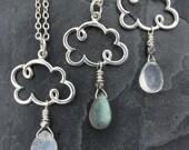 cloud gift, cloud necklace, cloud jewelry, cloud charm necklace, raindrop necklace, weather necklace, rain cloud necklace, gift for her