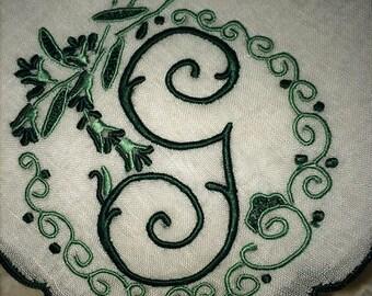 G Monogram Beautiful Greens Pristine Vintage Madeira Linen Handkerchief Hankie